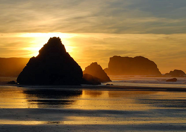 bandon dunes beach sunset