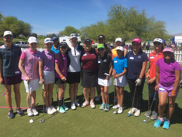 Annika Sorenstam (in white) at an ANNIKA exhibition at Mission Hills in California.