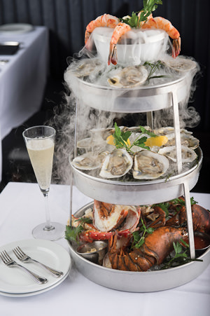Ocean Prime's Smoking Shellfish Tower.