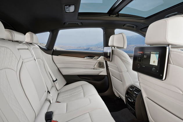 The spacious interior of the BMW 640i Grand Turismo.
