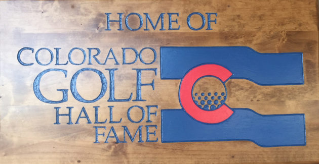 Entry sign to the Colorado Golf Hall of Fame at Riverdale Golf Courses in Brighton.