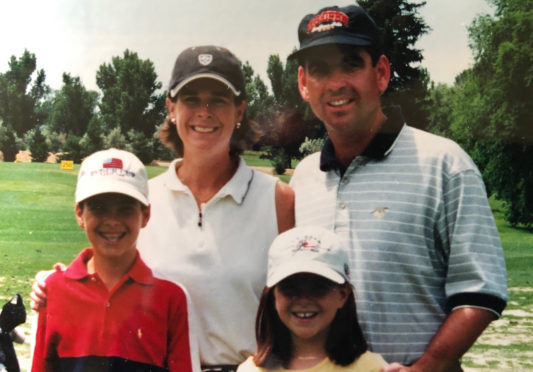 Colorado Golf Hall of Famers Janet and Kent Moore in 2001 with children Sarah and Steven.