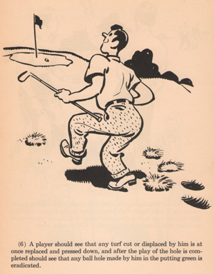 """Divot-replacement advice from """"The Rules of Golf Illustrated and Explained,"""" edited by Francis Ouimet, 1948."""