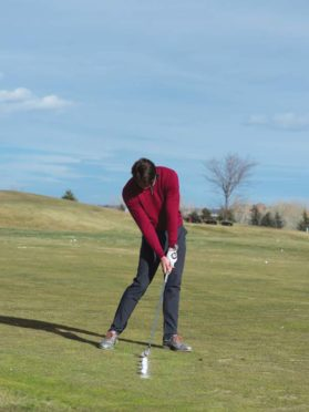 Iron drill step 2: do NOT try to . hit down on the ball. Let the club fall naturally.
