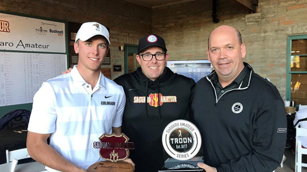 Saguaro winner Trevor Olkowski, CU coach Roy Edwards and Guy Sugden, VP of Troon Golf