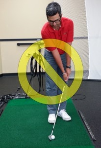 Do not put the ball back in your stance for this shot.