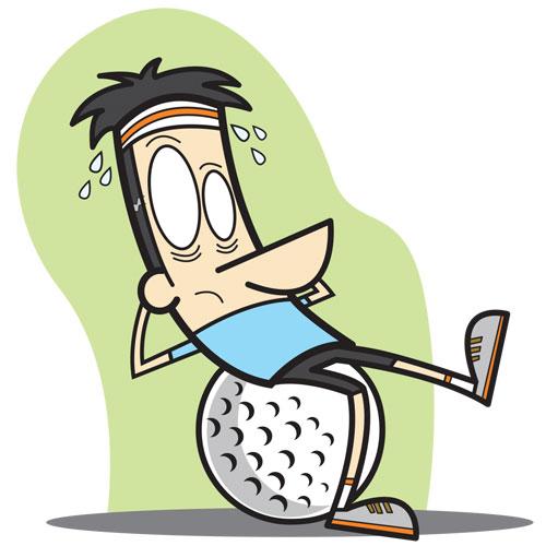 Sit ups, golf ball