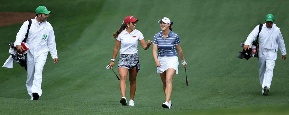 Jennifer Kupcho and Maria Fassi at Augusta National Golf Club