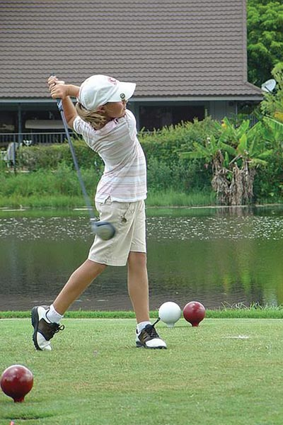 Her as an amateur golfer