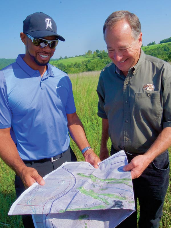 Tiger Woods & Johnny Morris on the site of Payne's Valley