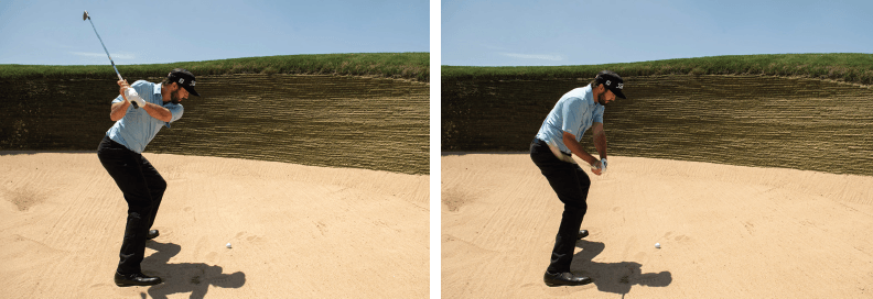 The correct downswing for a bunker shot