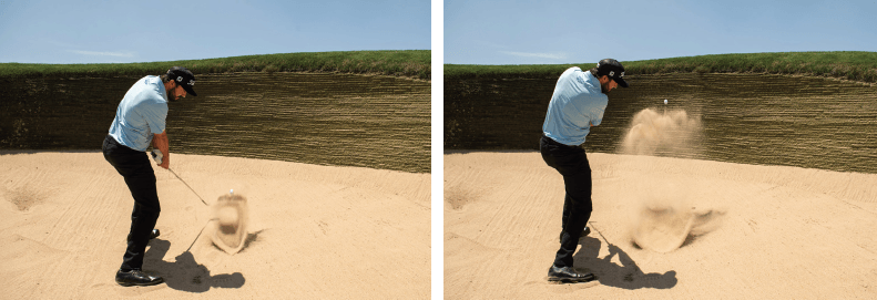 Impact position when hitting out of the sand