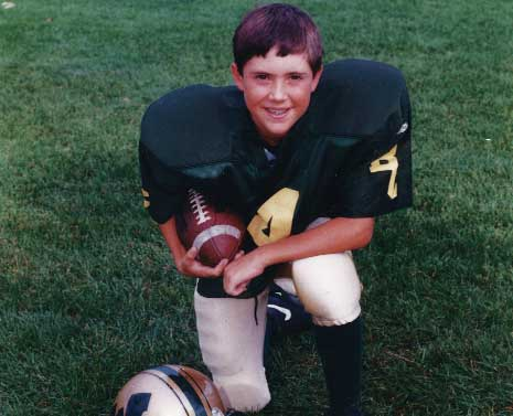 Mark Hubbard played football as a young child